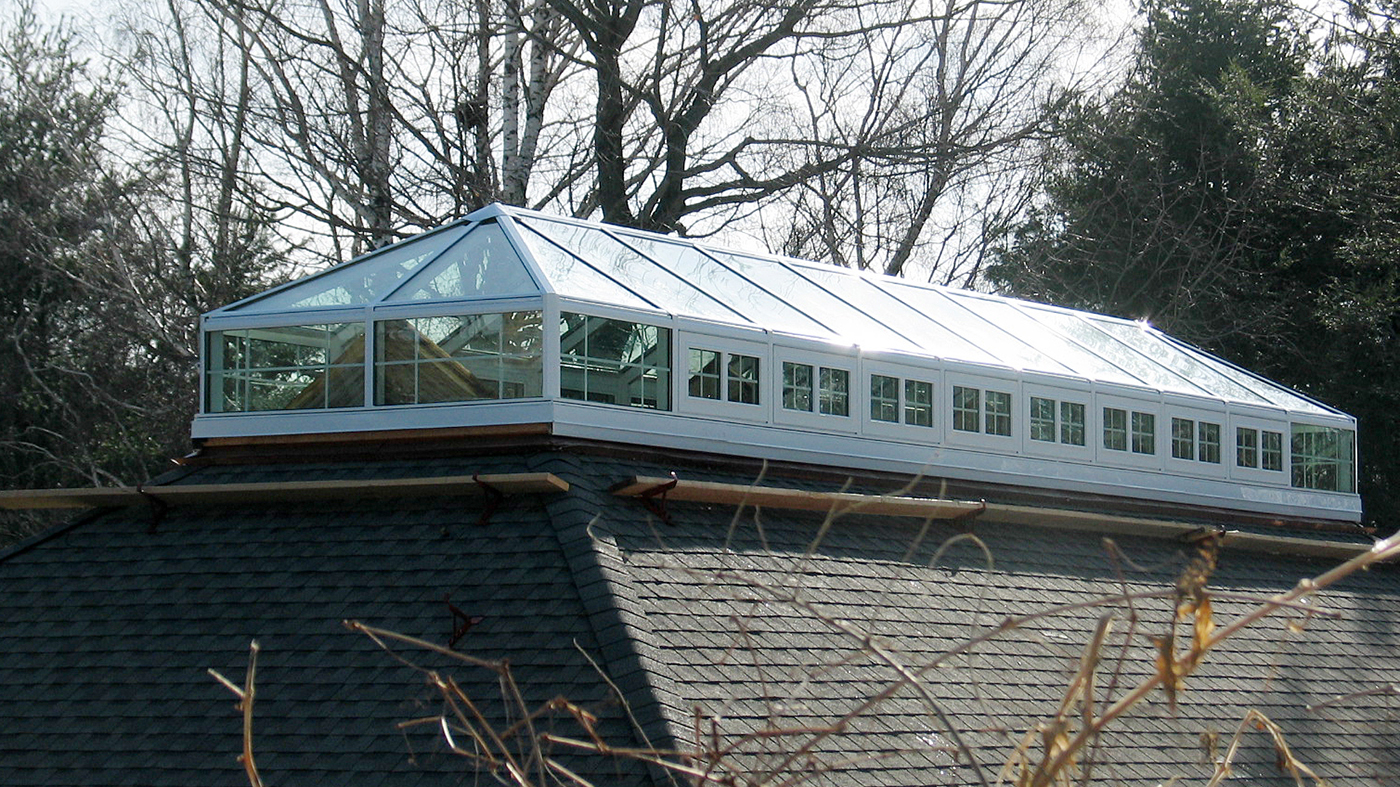 Straight eave double pitch skylight with BEFORE photo