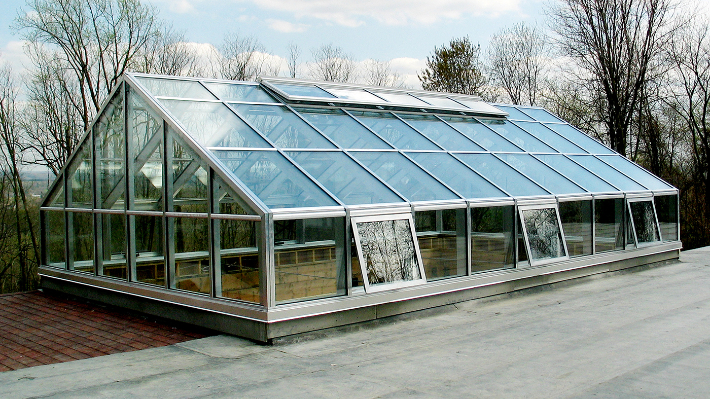 Straight eave double pitch skylight with a transom, two gable ends and awning windows