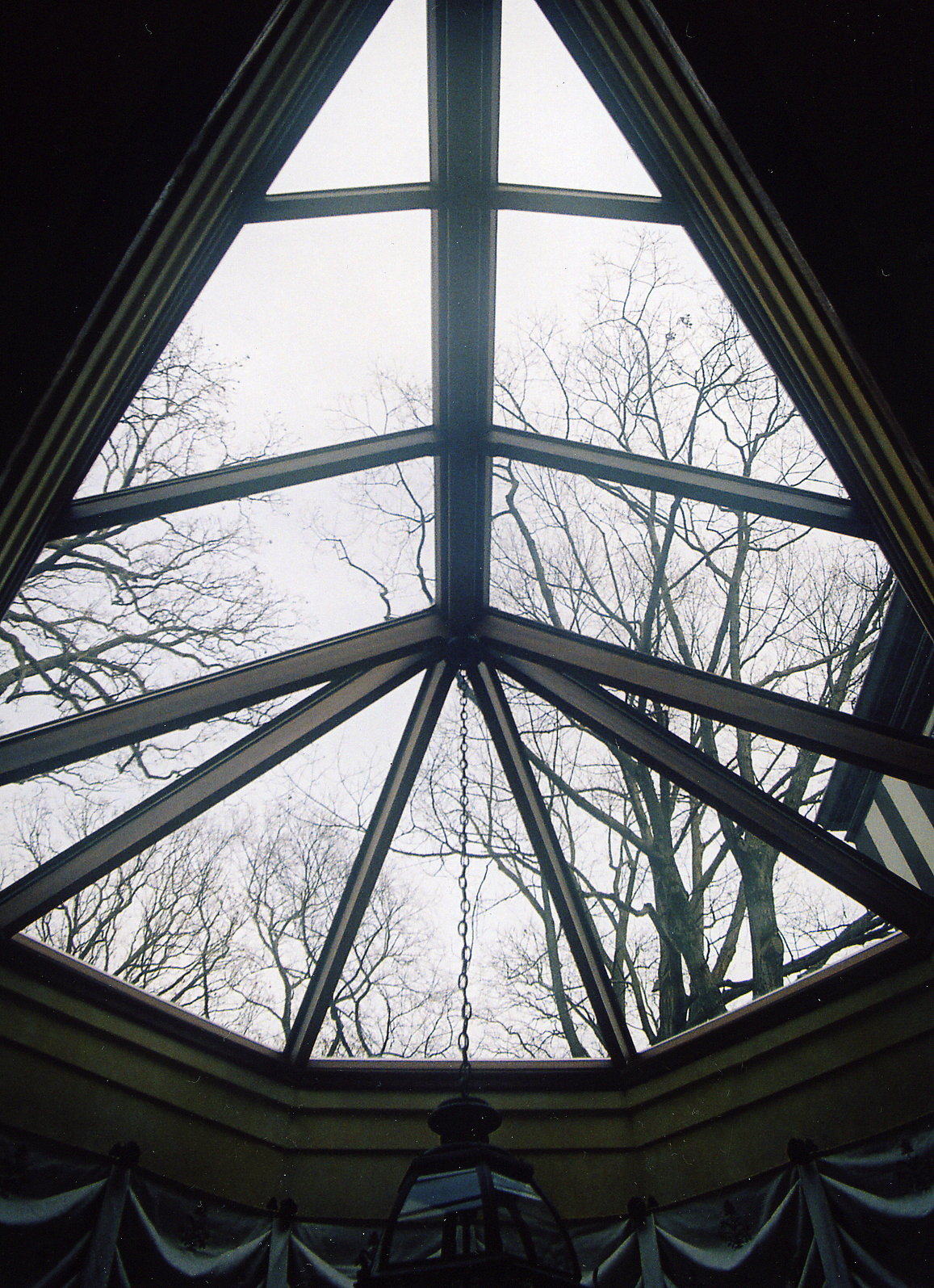 Polygonal skylight with mahogany framing and copper cladding