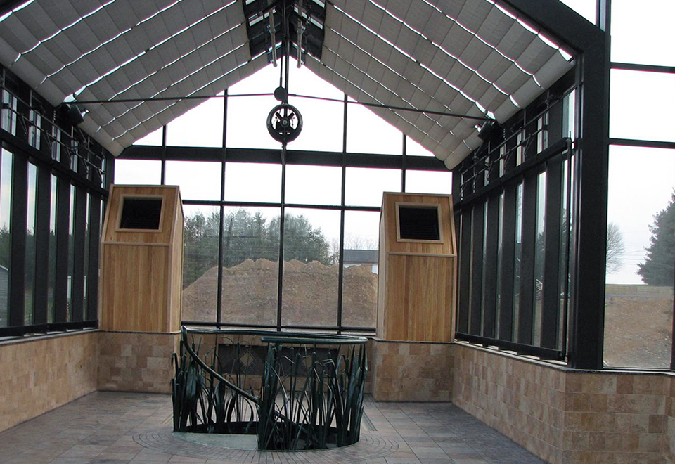 straight eave double pitch structures attached to a central hip end greenhouse
