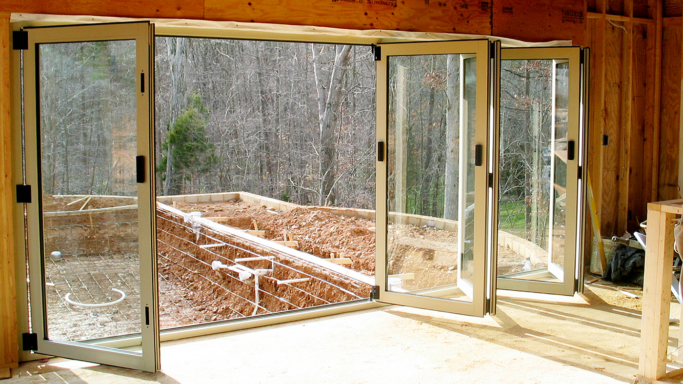Bifold doors/folding glass walls.