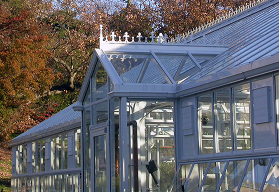 Institutional straight eave, double pitch greenhouse constructed with the restoration system.