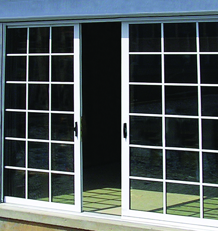 Multi-track sliding glass door system.