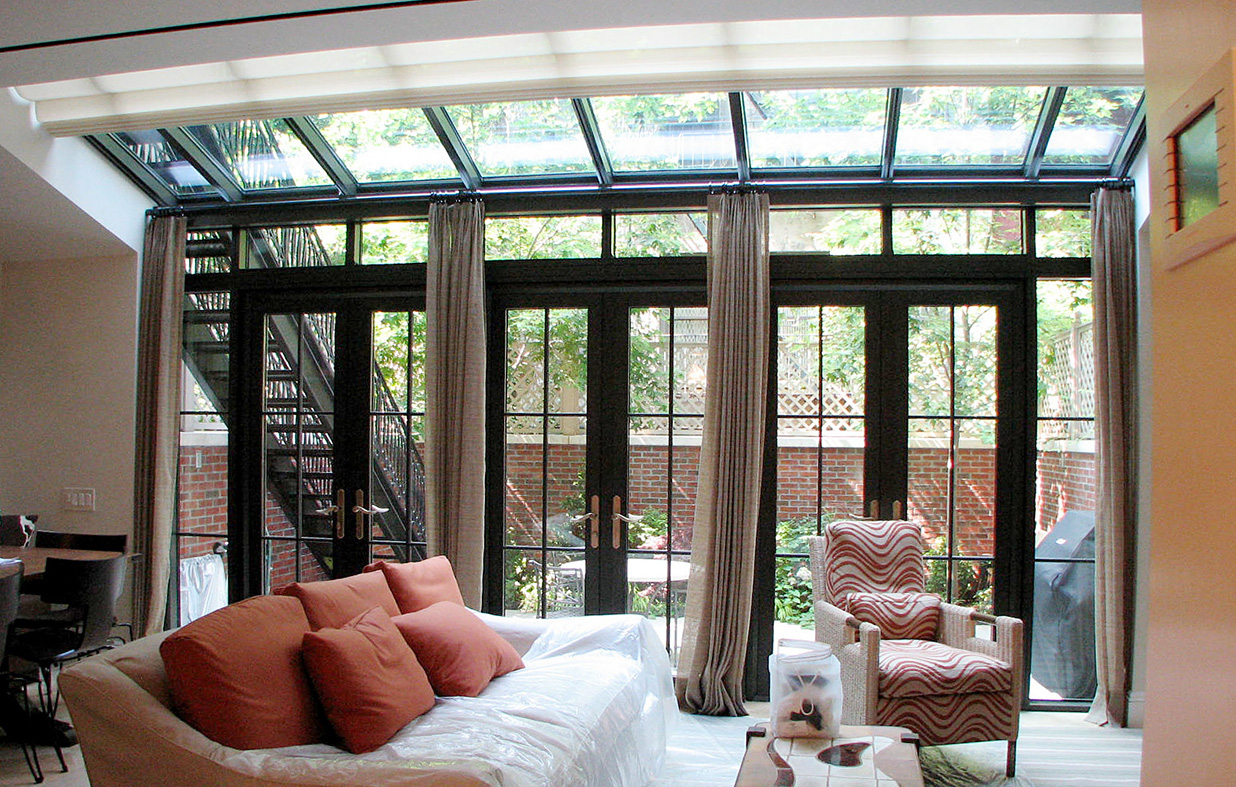 Straight eave lean-to sunroom