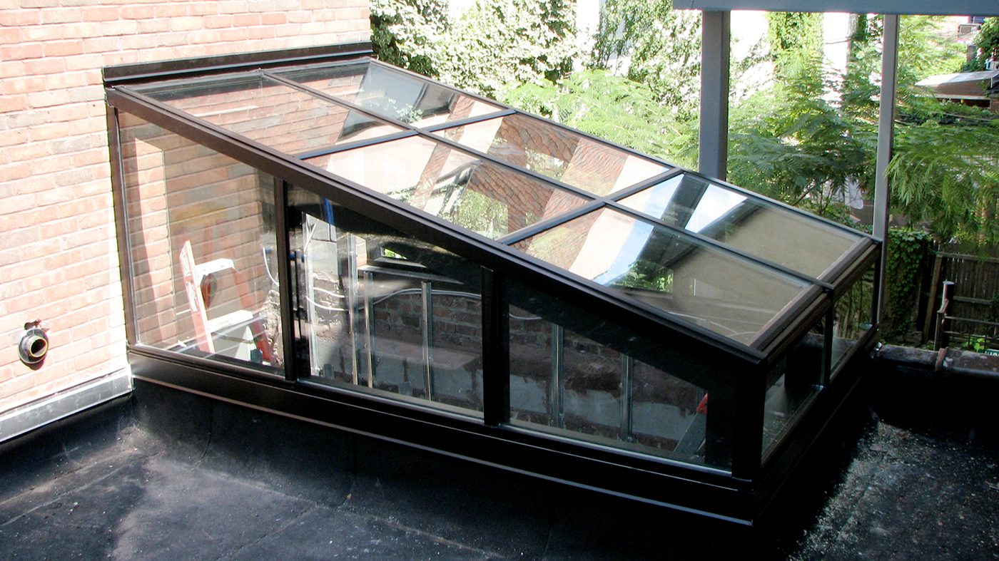 Straight eave lean-to skylight