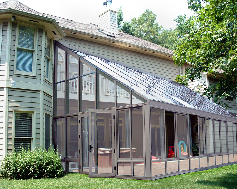 Straight eave lean-to sunroom with French doors.