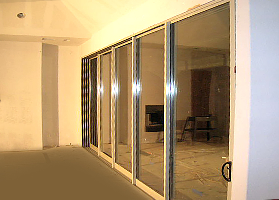 Multi track sliding glass door.