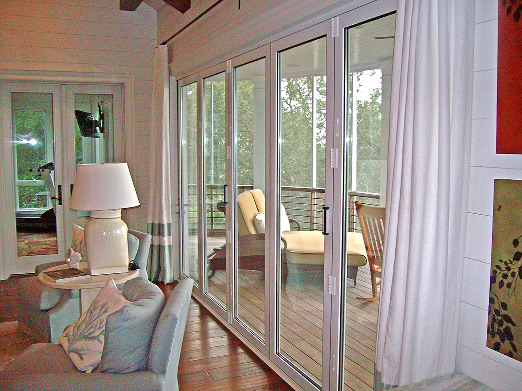 Bifold doors/folding glass wall.