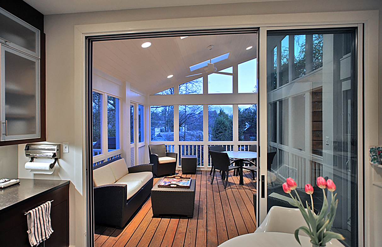 Multi-track sliding glass door.