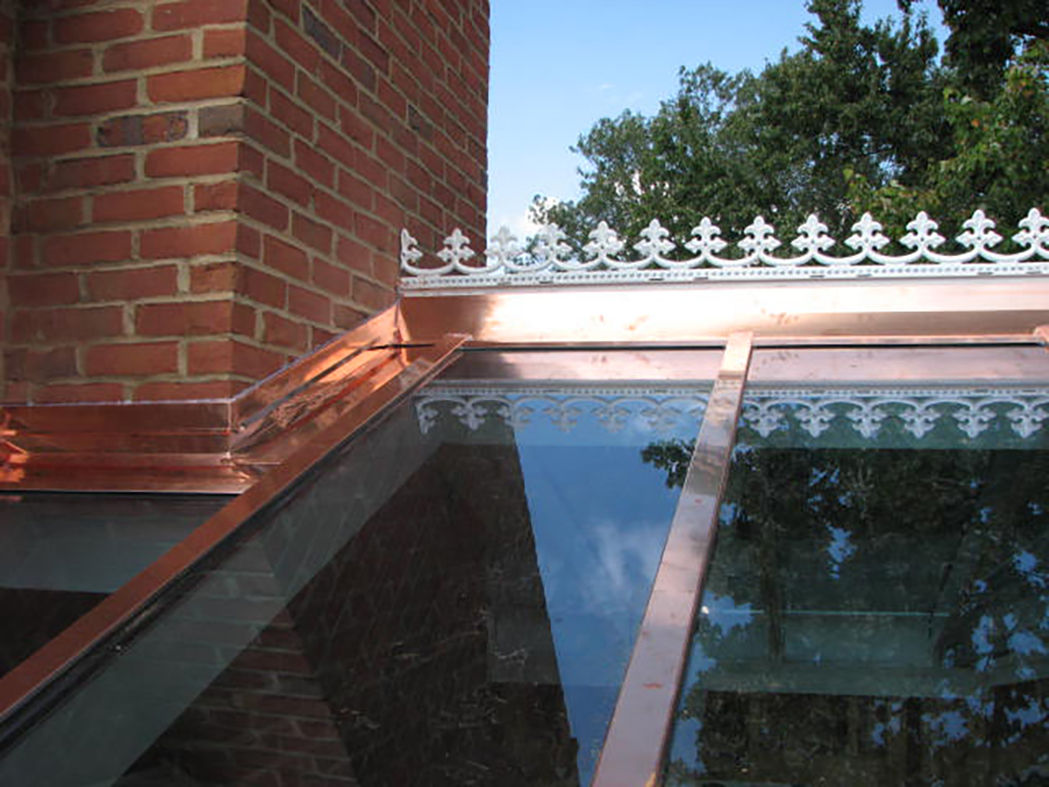 Straight eave double pitch copper cladded skylight