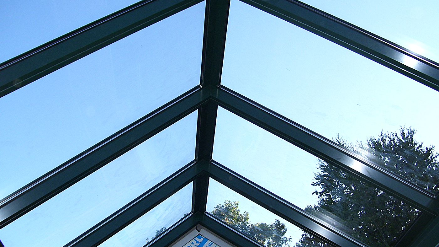 Straight eave double pitch skylight.