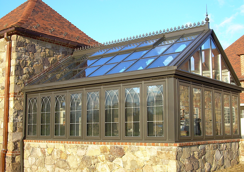Greenhouse with leaded glass grids