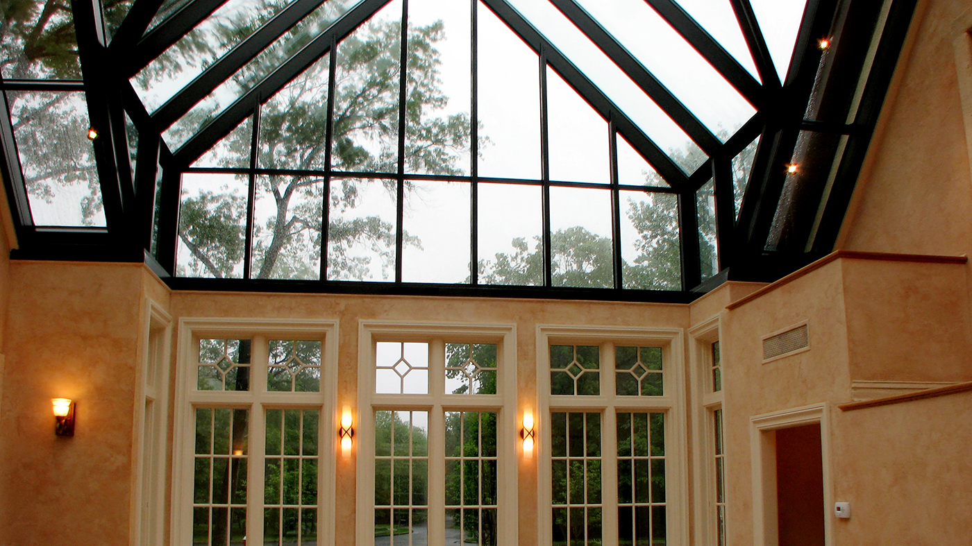 Straight eave double pitch skylight with two straight eave double pitch dormers with ridge cresting, constructed with 7 inches aluminum system.