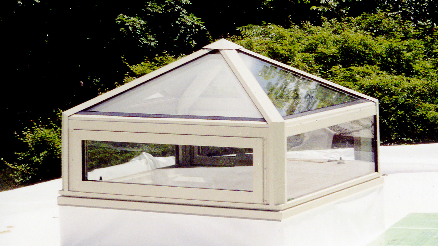 Straight eave double pitch lantern skylight with hip and gable ends. Straight eave double pitch hip end skylight with transom. Pyramid skylight.