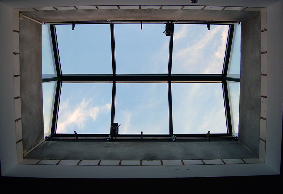 Three skylights including two selt lean-to configurations and one straight eave double pitch with eave vents.