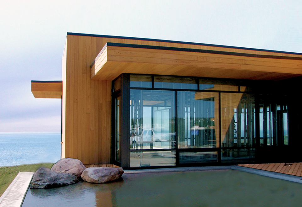Multiple curtain wall systems throughout the home.
