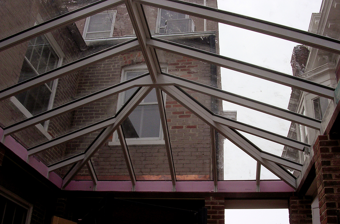 Straight eave double pitch skylight