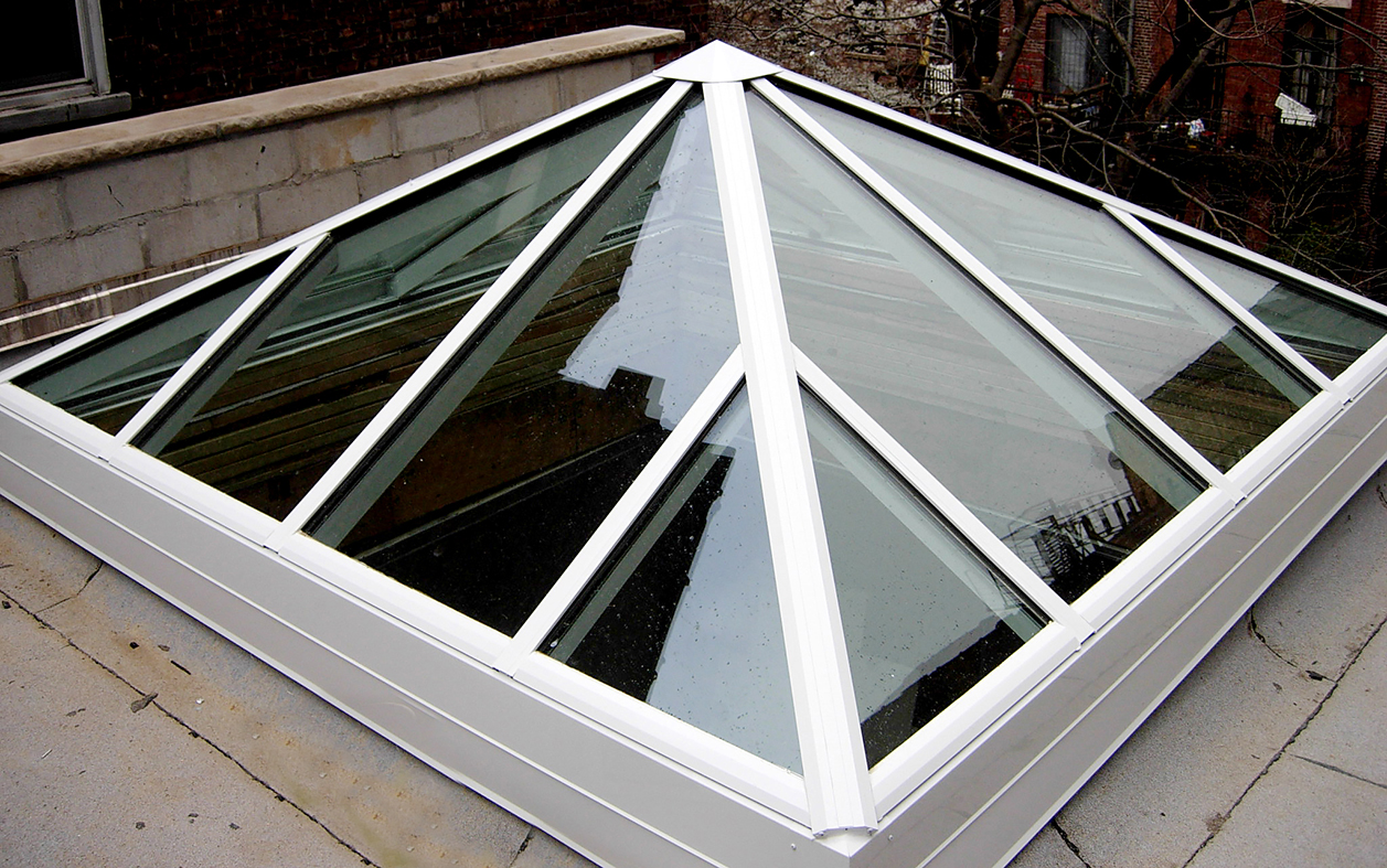 One pyramid and one straight eave lean-to skylight