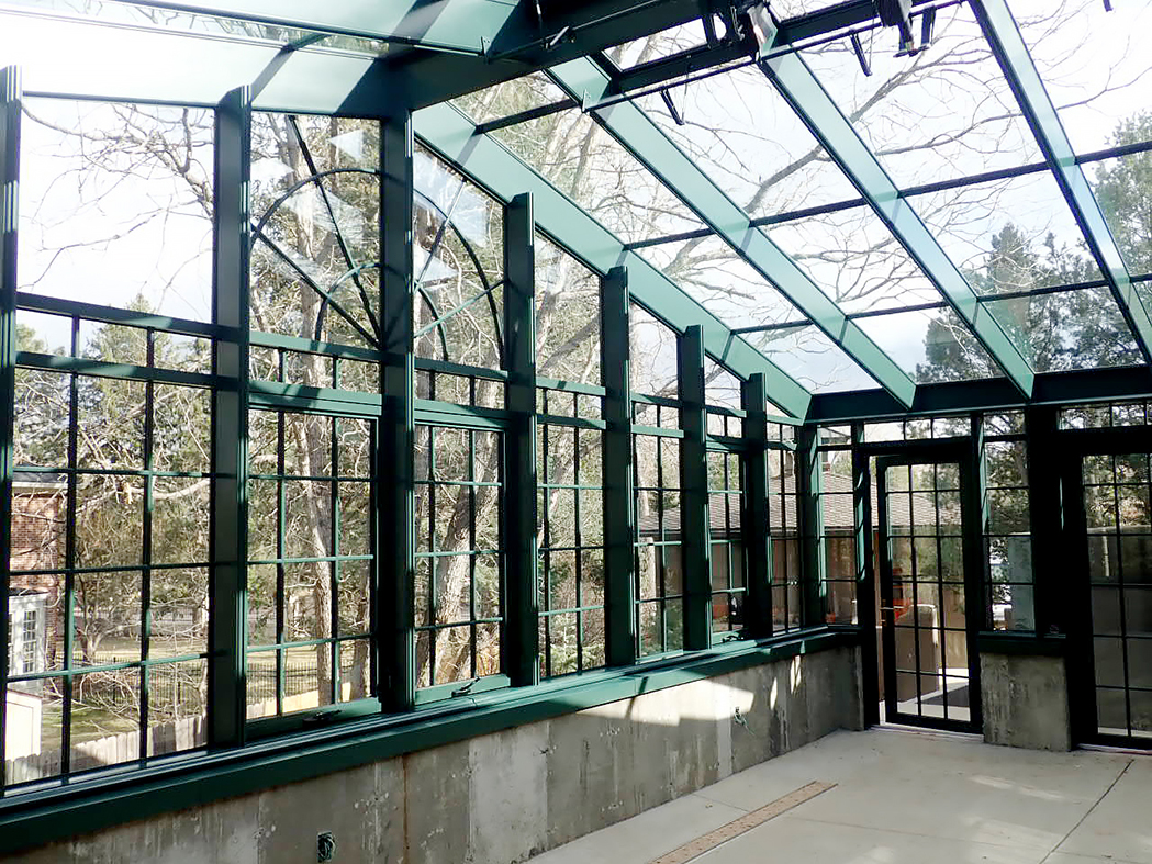 Straight eave double pitch greenhouse with good Awning window crank, bulbous cap and Toronto handle details