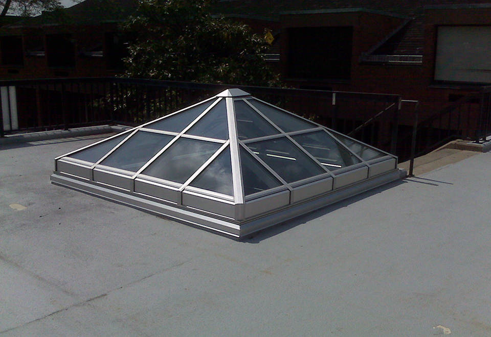 Pyramid skylight used on an educational facility.
