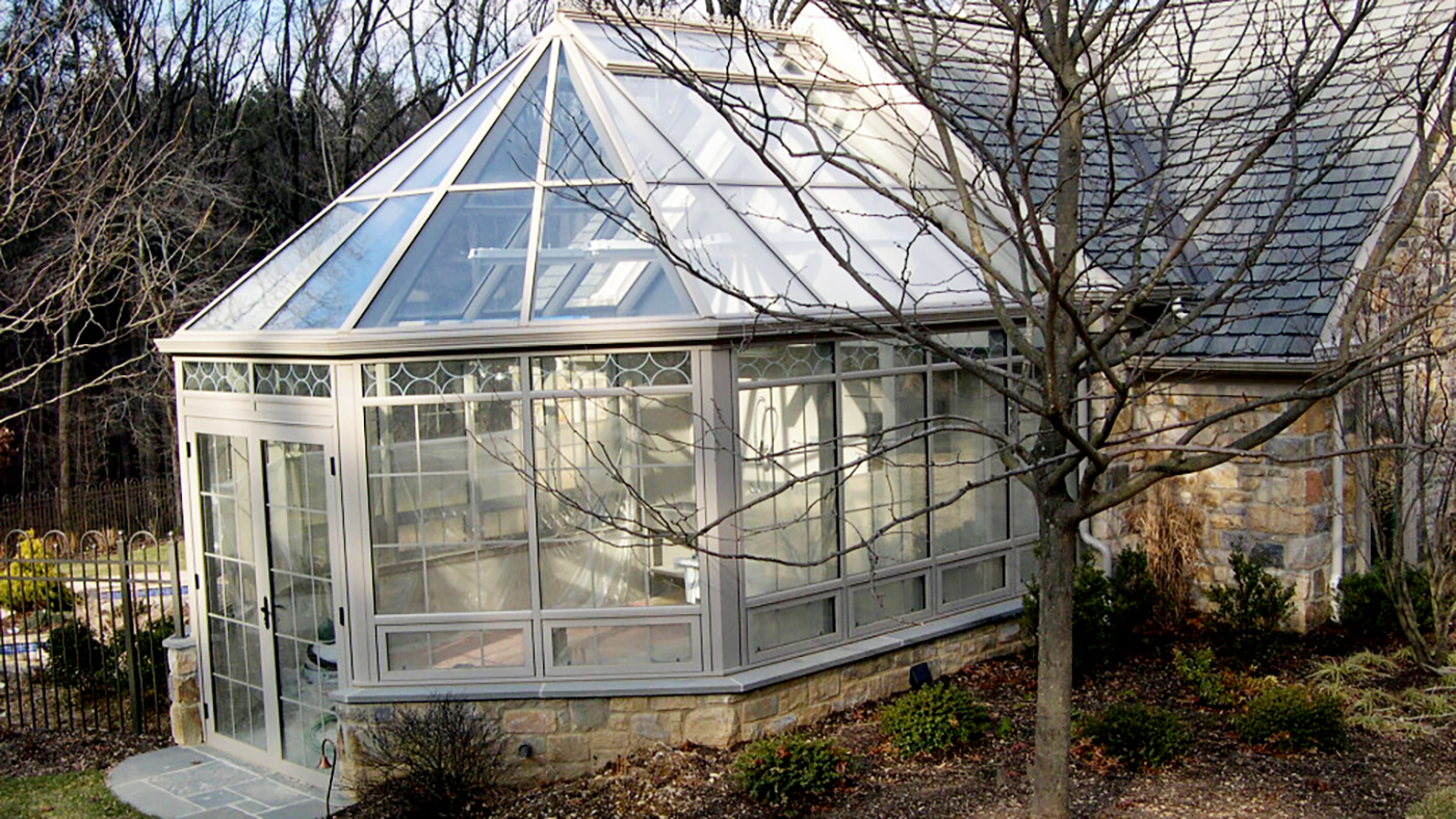 Straight Eave Double Pitch Greenhouse with Conservatory Nose