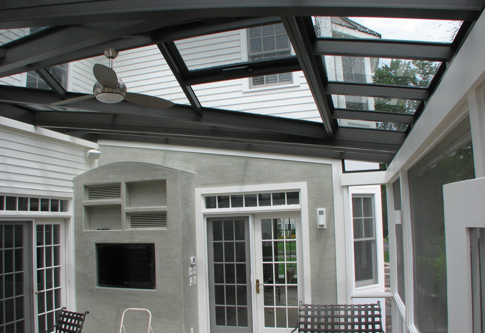 Straight eave lean to skylight with a straight eave double pitch dormer and ridge vents.