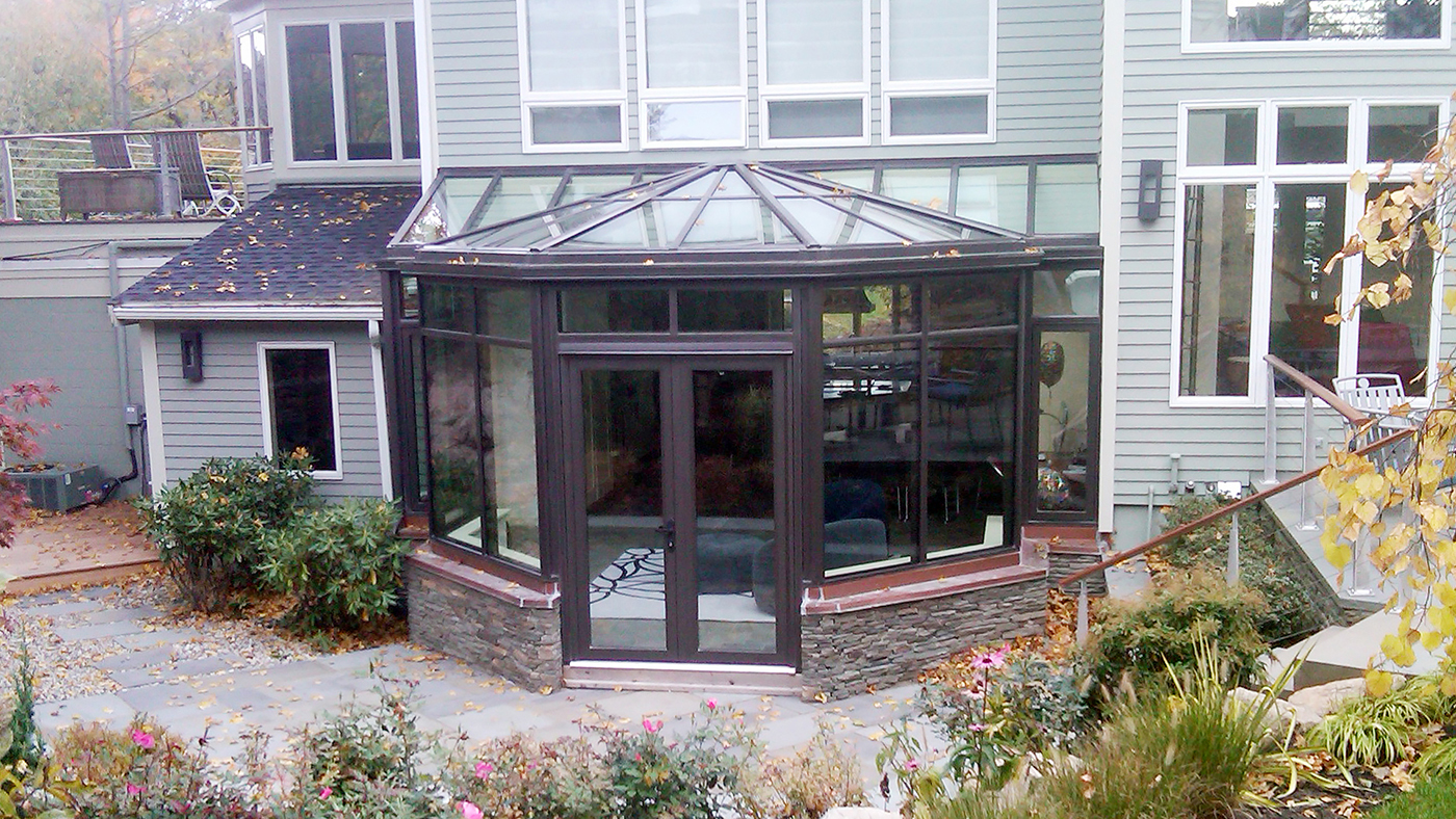 Straight Eave Lean To Conservatory with Conservatory Nose