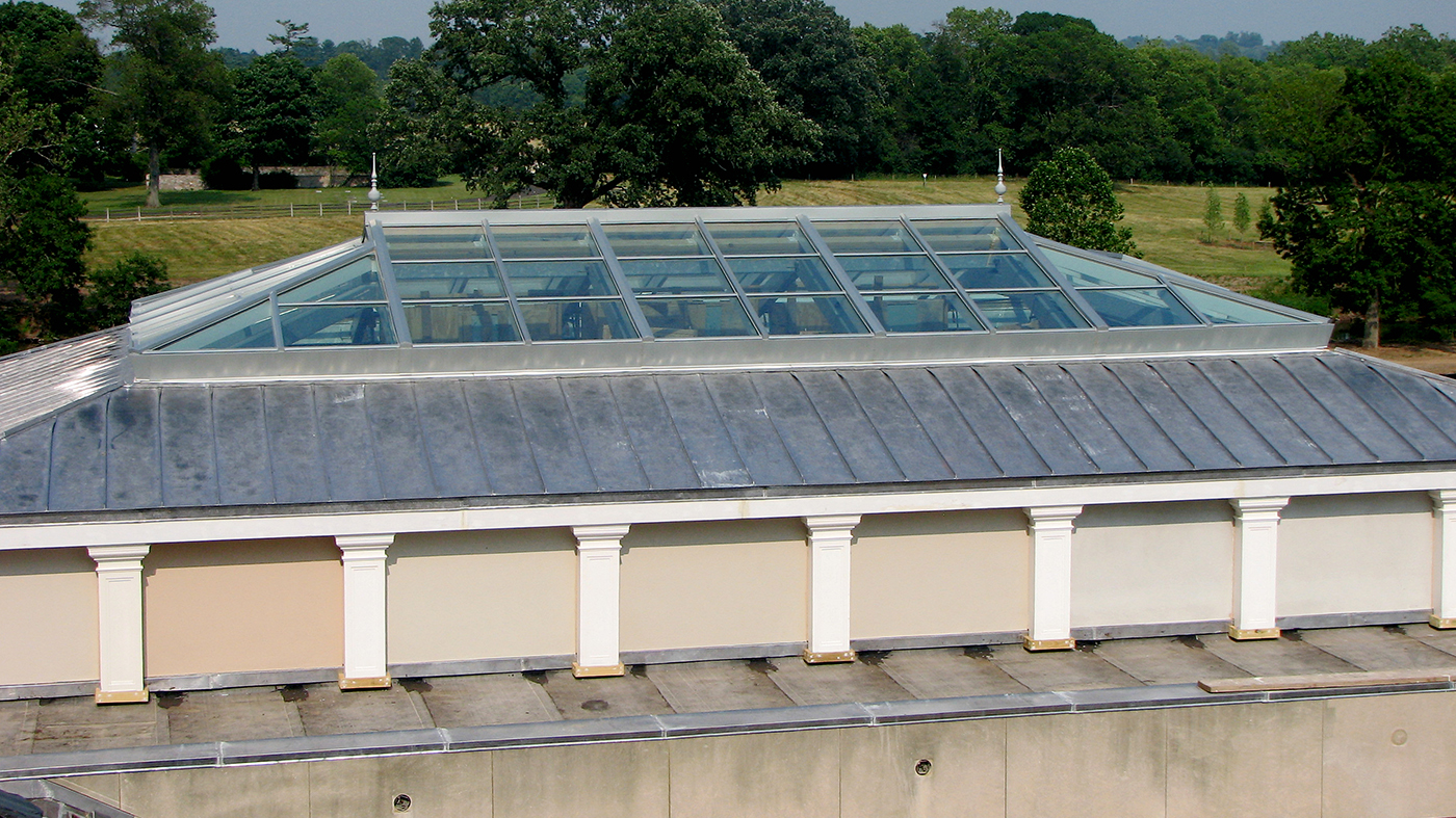 Straight eave double pitch venting skylight
