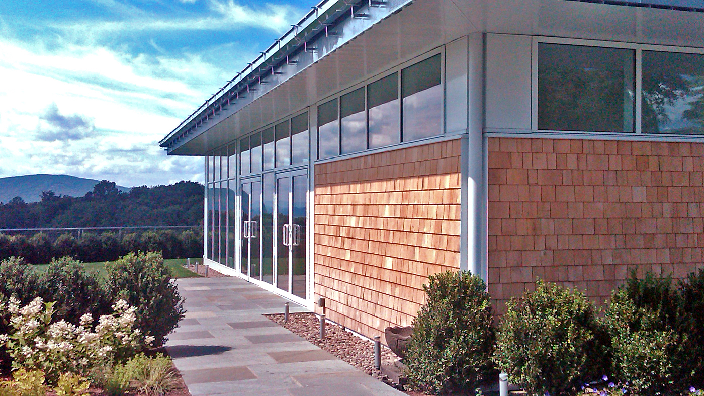 Aluminum curtain wall with integrated French doors.