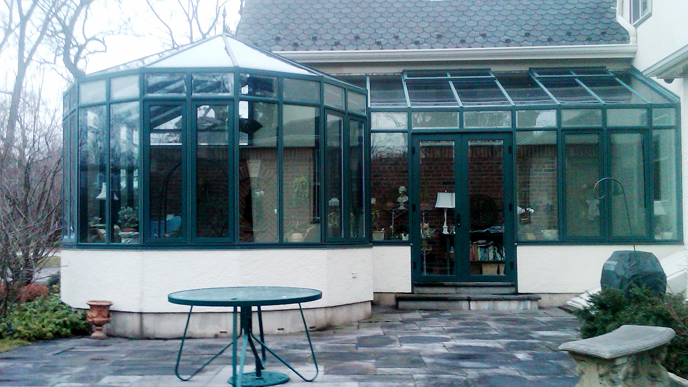 Straight Eave Double Pitch Sunroom with Conservatory Nose with Partial Gable End