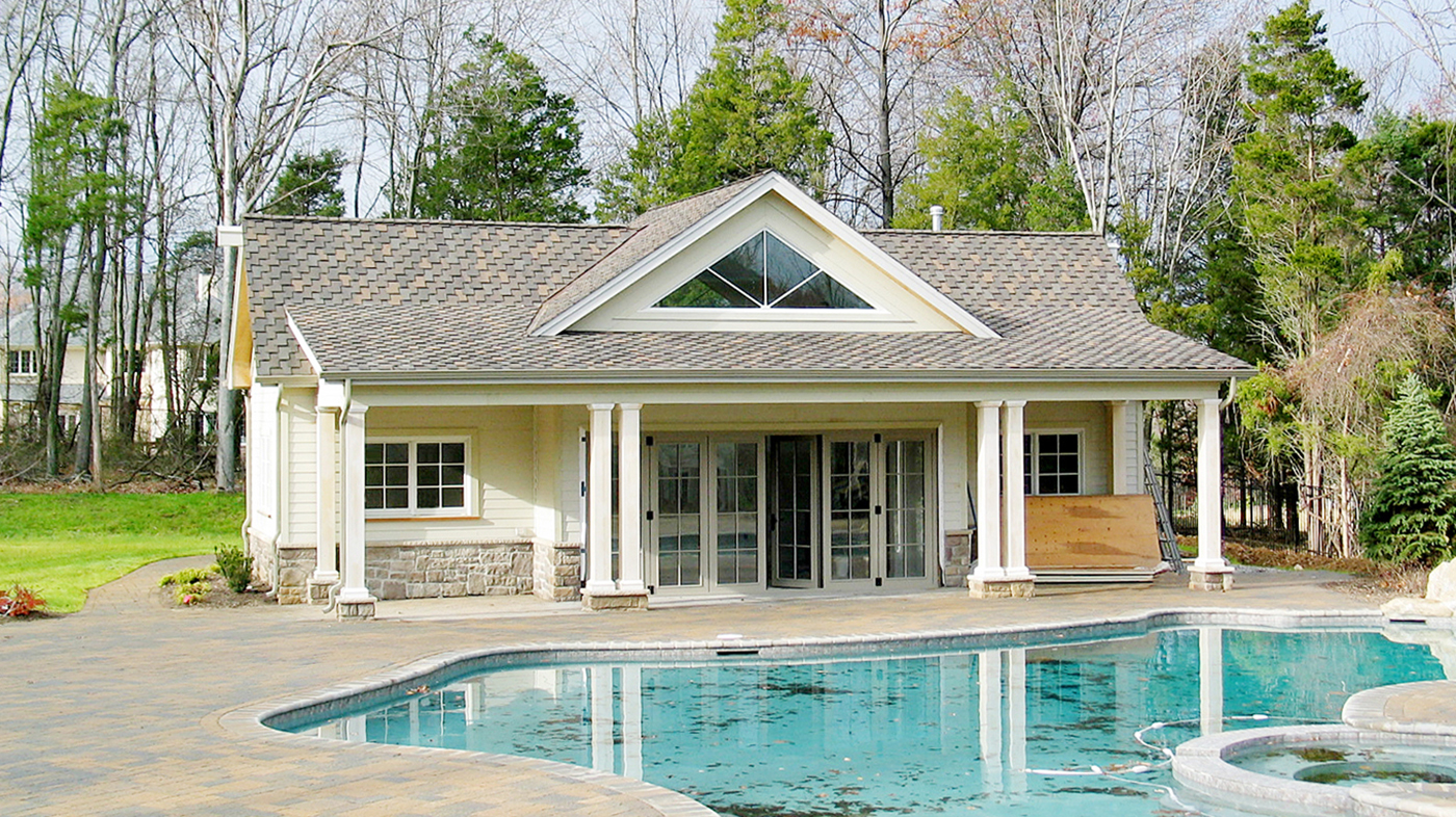 Pool House with Double Door (mid wall), Bottom Load , Fold Out, 3 Panels Fold Left, 3 Panels Fold Right, Recessed Sill