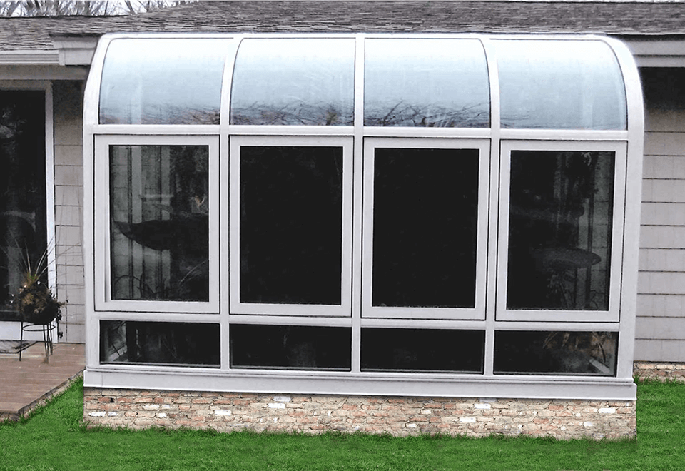 Curved eave lean to on residential end users home to be able to garden from inside their own home!