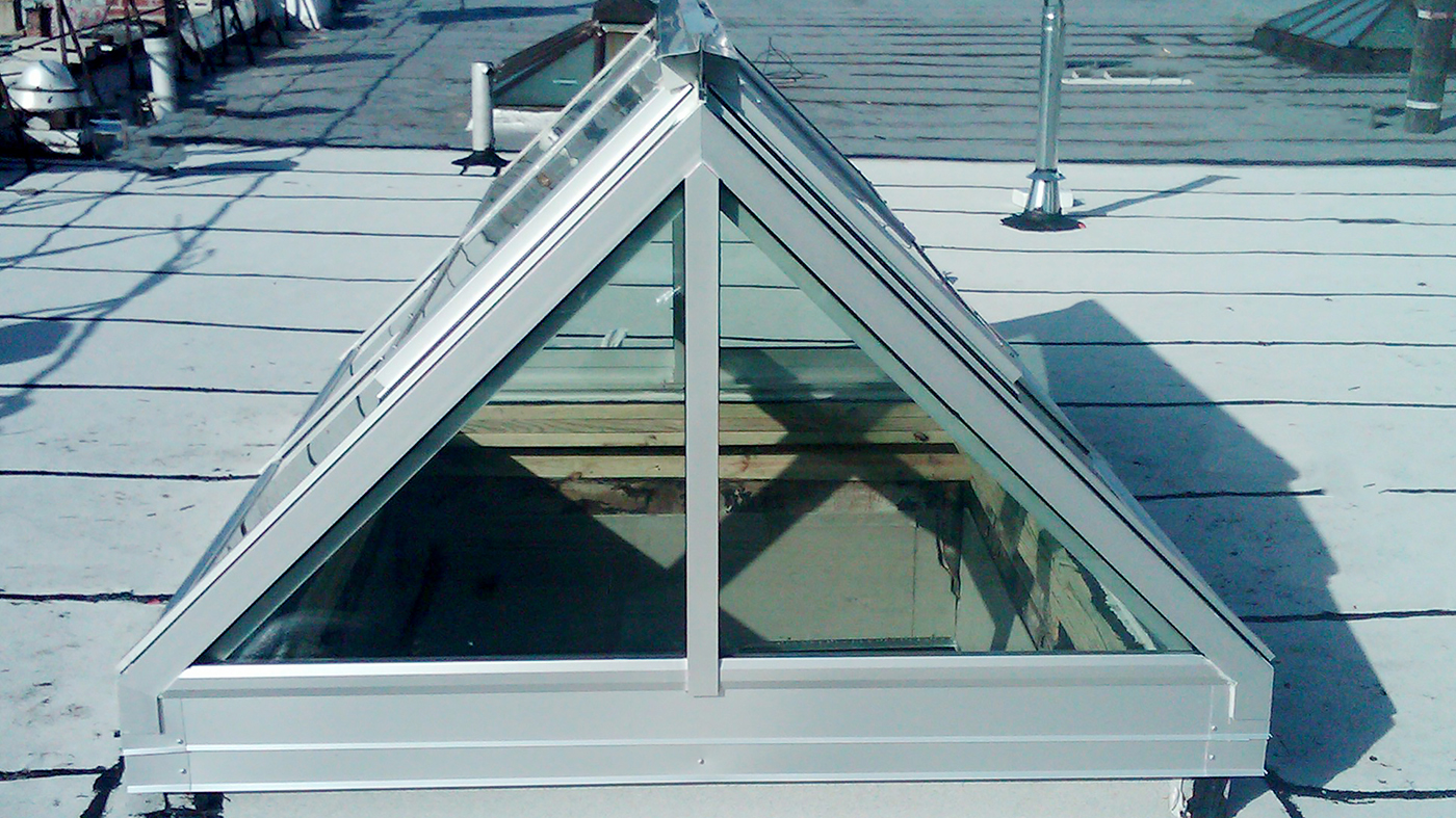 Commercial Straight Eave Double Pitch Skylight with two gable ends