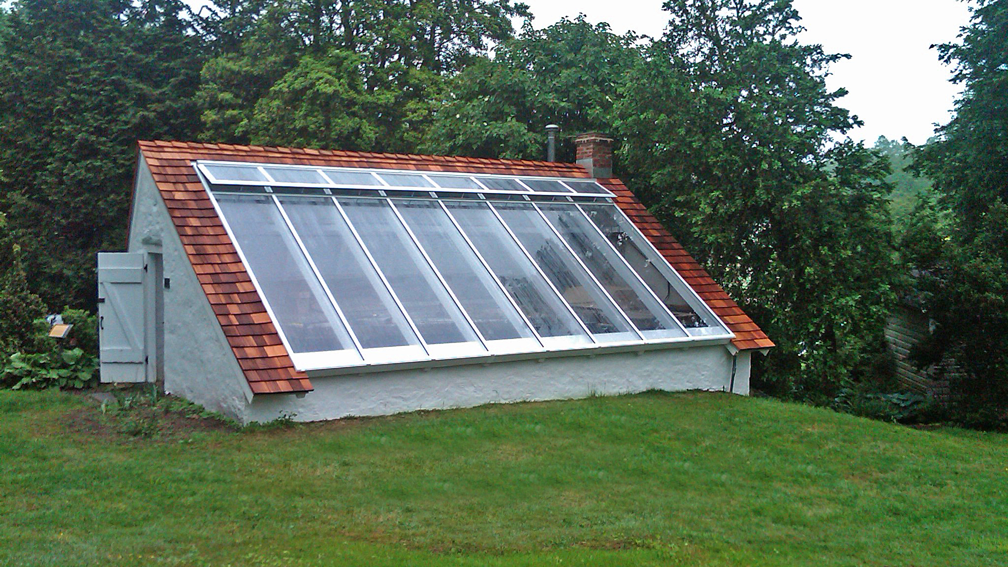 Straight eave lean-to skylight with polycarbonate.