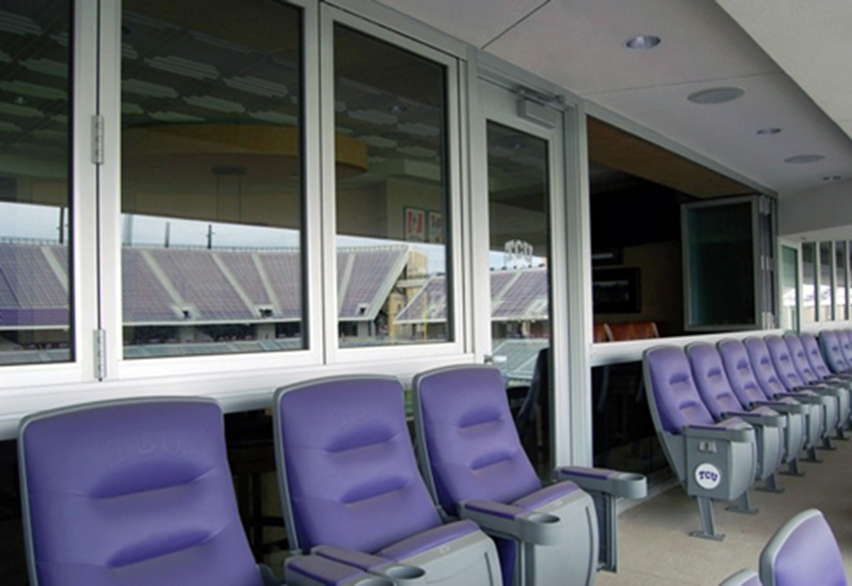 Six All Wall Folding Glass Walls for use in suites in the remodeled Amon Carter stadium at Texas Christian University