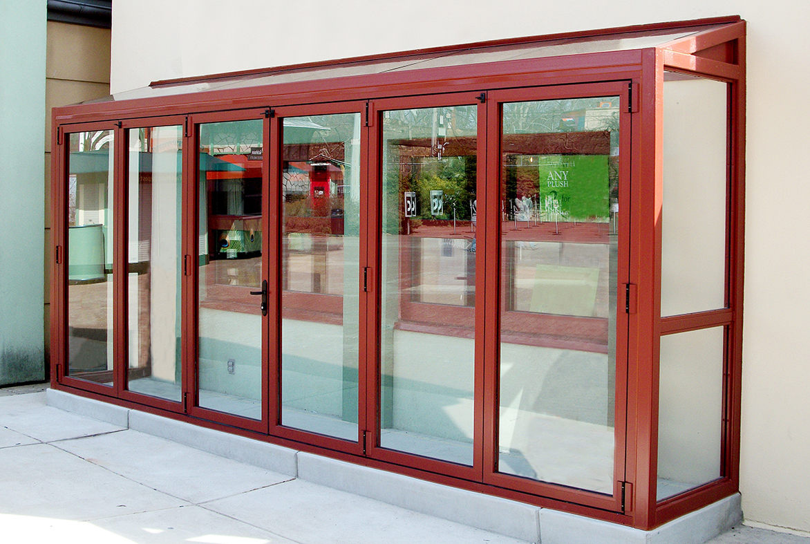 Red bifold doors