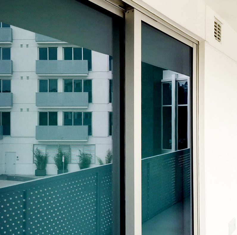 337 Multi-track sliding glass door units with additional terrace doors.