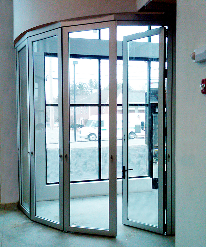 Segmented radius Slide & Stack doors
