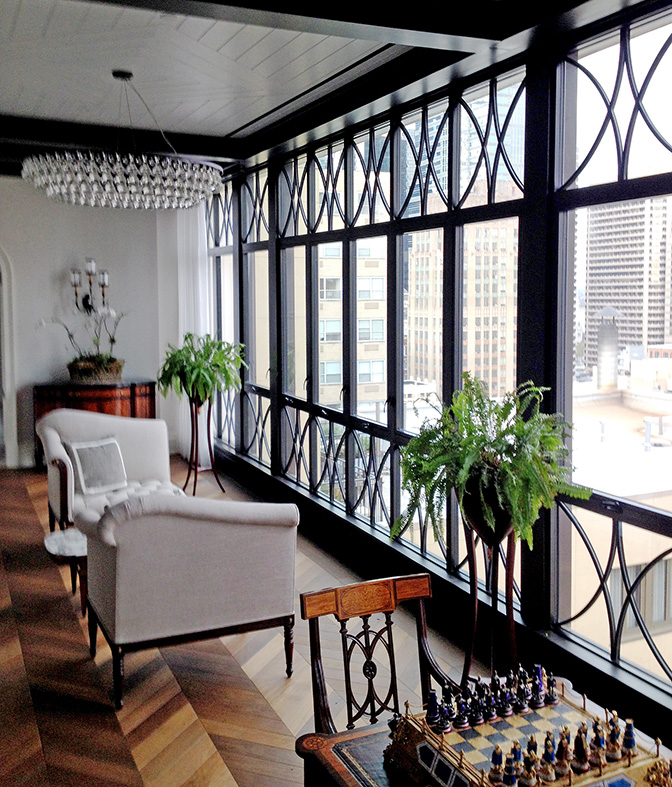 Awning Windows with fixed gridded windows above and below