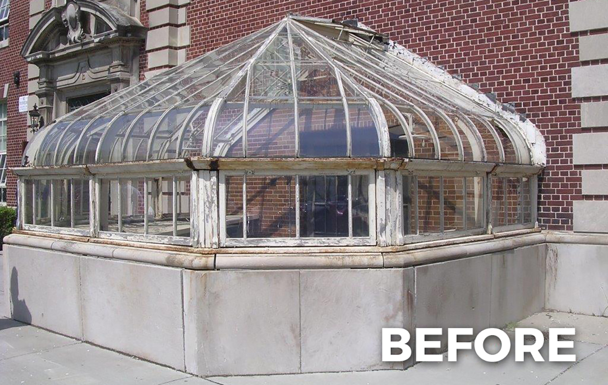 Restored conservatory nose on an institutional setting.