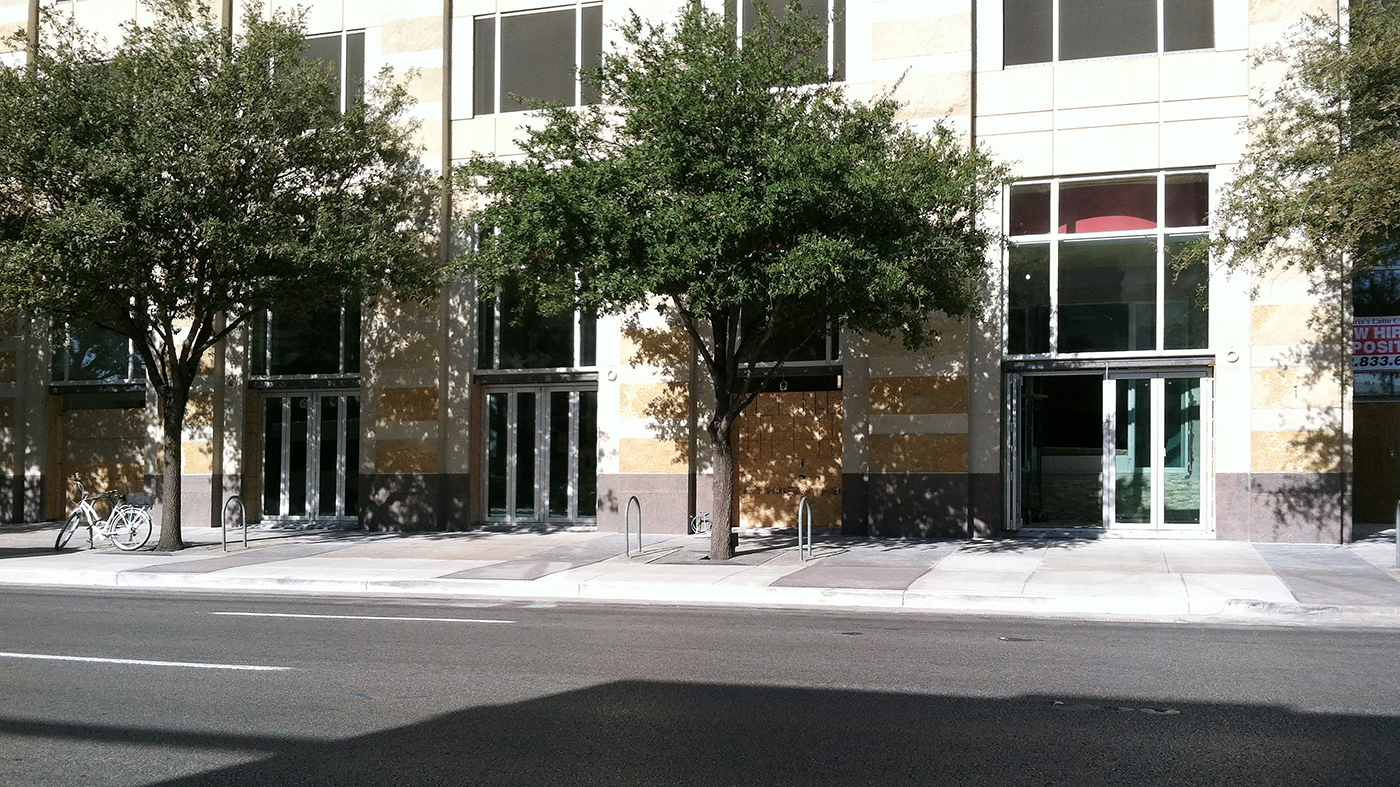 Three folding glass walls with split wall configurations, bottom load, fold out, standard sill.
