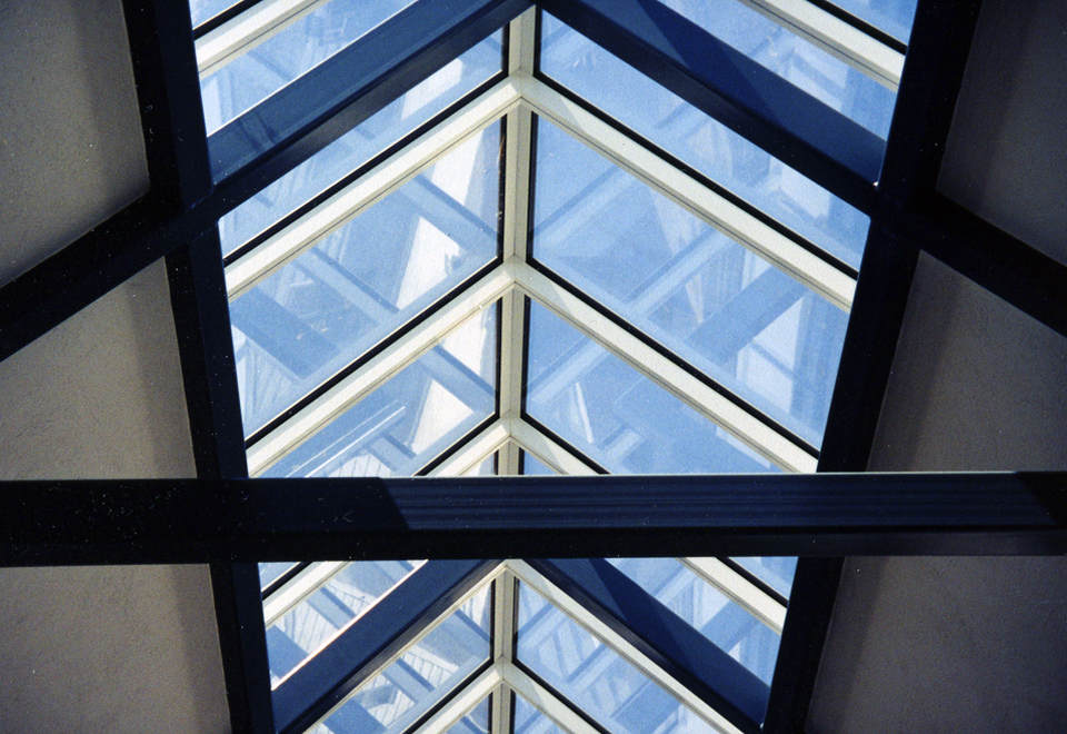 Double pitch skylight aligned over structural steel sub frame.