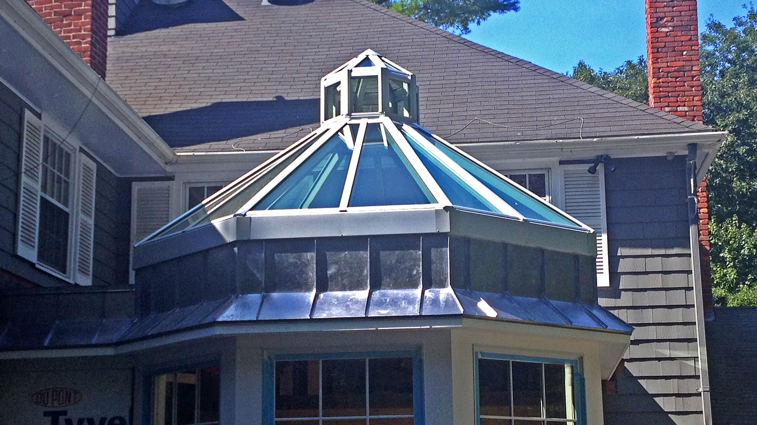 Octagonal skylight with lantern.