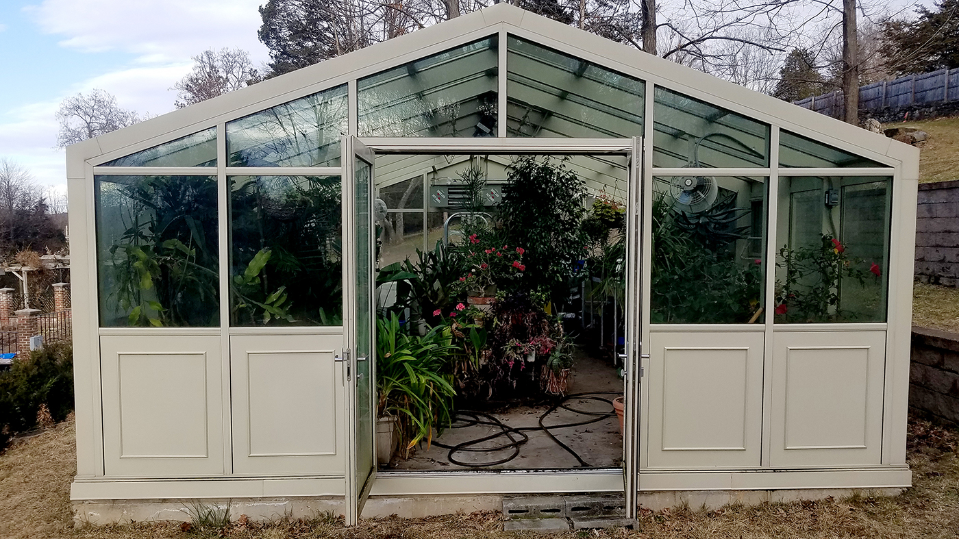 Straight eave double pitch greenhouse and straight eave lean-to greenhouse
