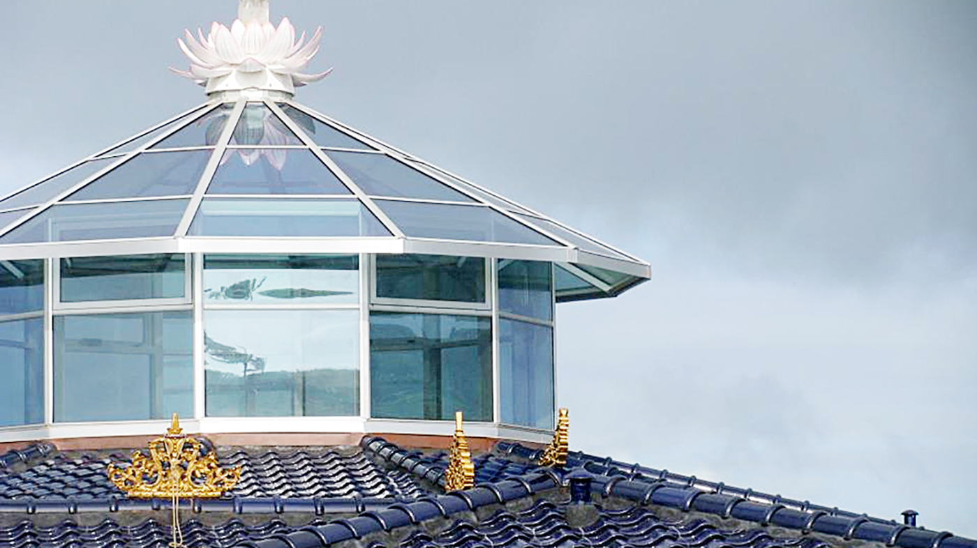 12 sided polygon skylight with a lantern and motorized awning windows