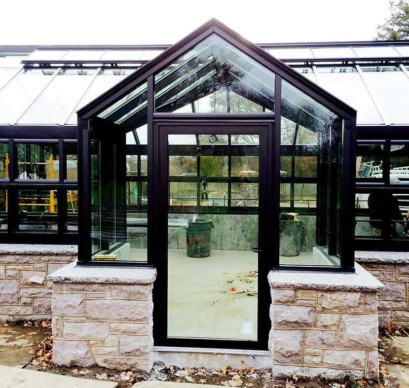 Straight eave double pitch greenhouse with dormer