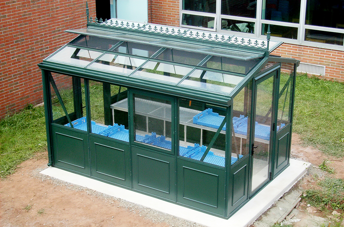 Straight eave double pitch greenhouse with iGrow 800 Environmental Control System