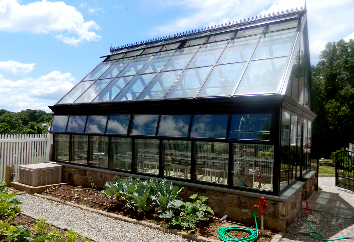 Straight eave, double pitch greenhouse with 2 gable ends.