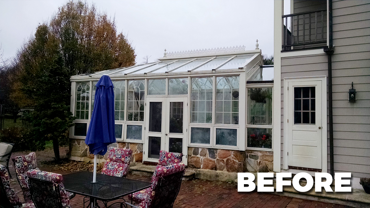 Straight eave double pitch hip end greenhouse with French doors and pleated screens.