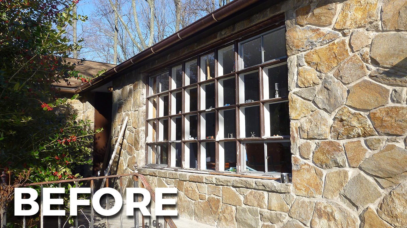 Aluminum-clad glulam curtain wall with BEFORE photo